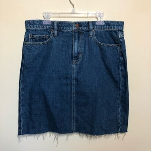 J crew Jean denim cutoff frayed skirt